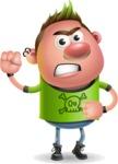 Punk Boy Cartoon Vector 3D Character AKA Carter Punk - Angry