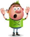 Punk Boy Cartoon Vector 3D Character AKA Carter Punk - Shocked