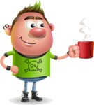 Punk Boy Cartoon Vector 3D Character AKA Carter Punk - Coffee
