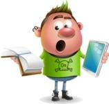 Punk Boy Cartoon Vector 3D Character AKA Carter Punk - Book and iPad