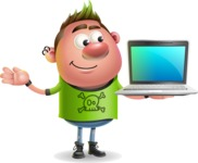 Punk Boy Cartoon Vector 3D Character AKA Carter Punk - Laptop 3