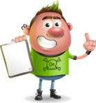 Punk Boy Cartoon Vector 3D Character AKA Carter Punk - Notepad 1