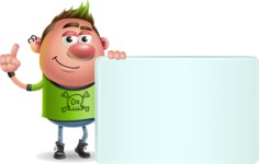 Punk Boy Cartoon Vector 3D Character AKA Carter Punk - Sign 7