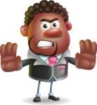 Vector 3D African American Businessman Cartoon Character AKA Brayden - Stop