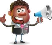Vector 3D African American Businessman Cartoon Character AKA Brayden - Loudspeaker