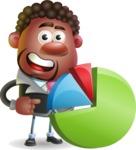 Vector 3D African American Businessman Cartoon Character AKA Brayden - Chart