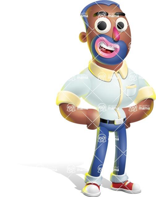 Male African American Cartoon Vector 3D Character AKA Jackson Blue - Normal