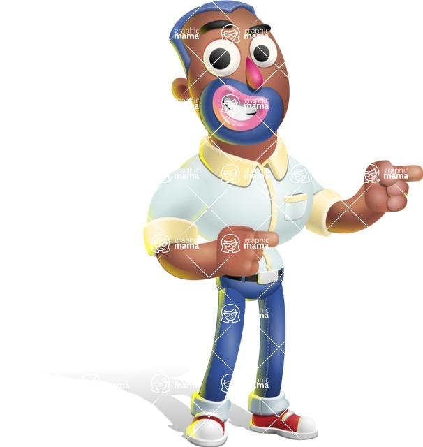 Male African American Cartoon Vector 3D Character AKA Jackson Blue - Point 2