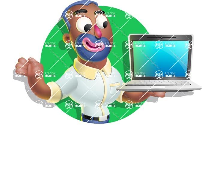 Male African American Cartoon Vector 3D Character AKA Jackson Blue - Shape 2