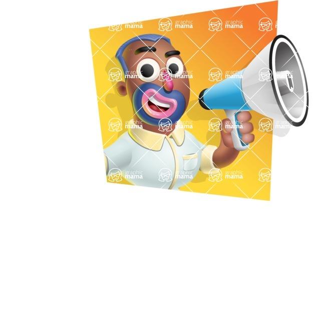 Male African American Cartoon Vector 3D Character AKA Jackson Blue - Shape 3