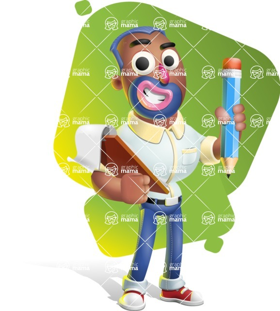 Male African American Cartoon Vector 3D Character AKA Jackson Blue - Shape 5