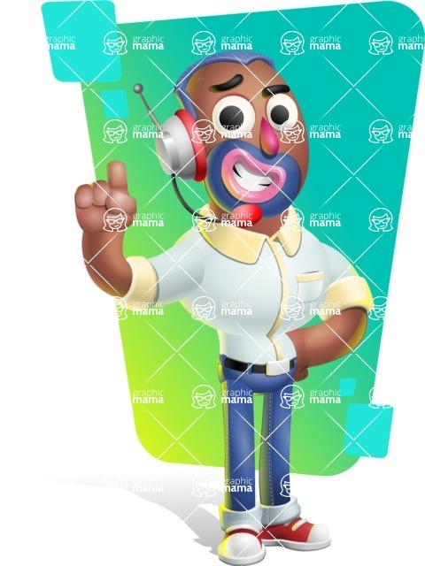 Male African American Cartoon Vector 3D Character AKA Jackson Blue - Shape 8