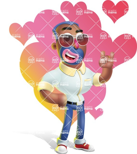 Male African American Cartoon Vector 3D Character AKA Jackson Blue - Shape 10