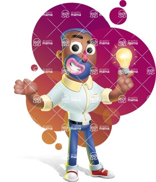 Male African American Cartoon Vector 3D Character AKA Jackson Blue - Shape 12