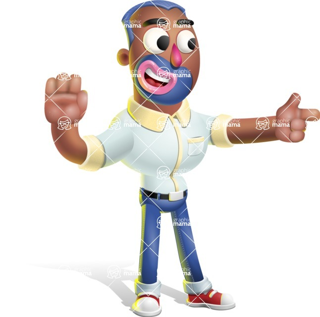 Male African American Cartoon Vector 3D Character AKA Jackson Blue - Direct Attention 2