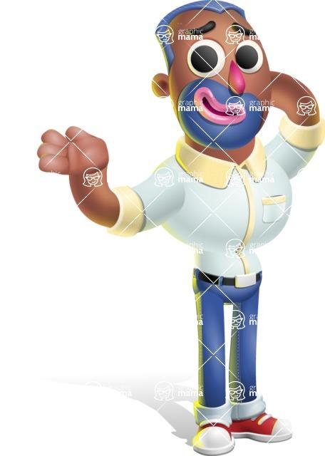 Male African American Cartoon Vector 3D Character AKA Jackson Blue - Sorry