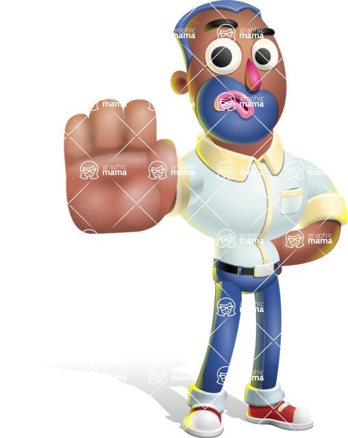Male African American Cartoon Vector 3D Character AKA Jackson Blue - Stop 2