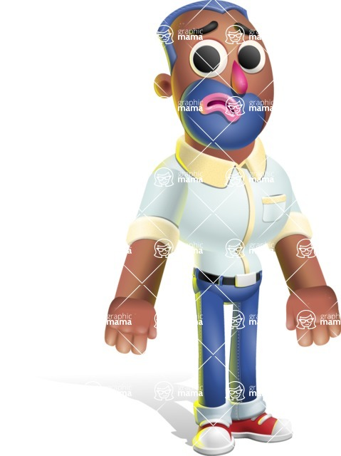 Male African American Cartoon Vector 3D Character AKA Jackson Blue - Sad