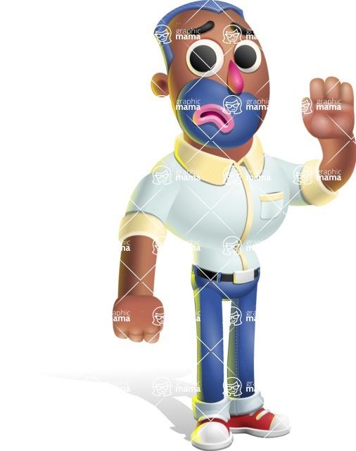 Male African American Cartoon Vector 3D Character AKA Jackson Blue - Goodbye