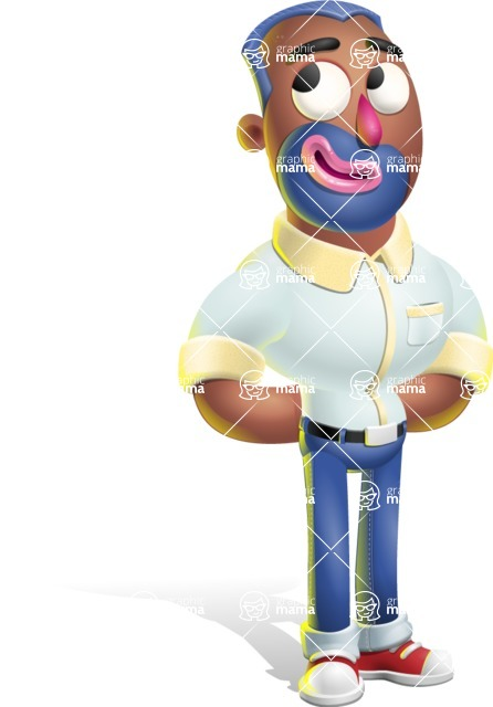 Male African American Cartoon Vector 3D Character AKA Jackson Blue - Patient