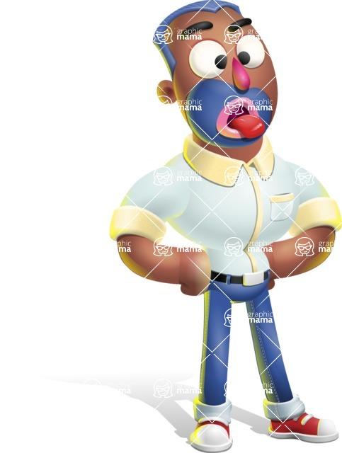 Male African American Cartoon Vector 3D Character AKA Jackson Blue - Making Face