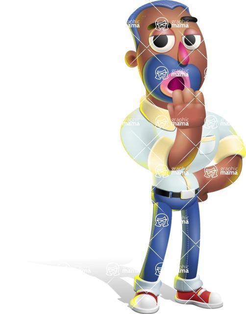Male African American Cartoon Vector 3D Character AKA Jackson Blue - Bored