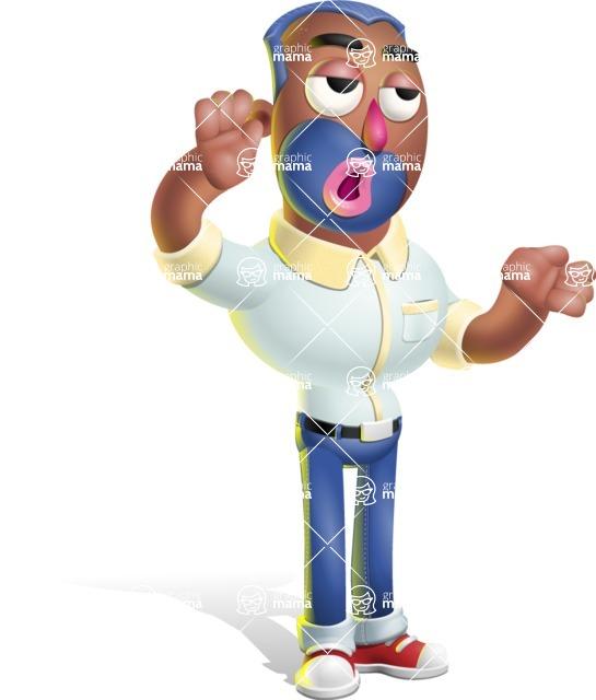 Male African American Cartoon Vector 3D Character AKA Jackson Blue - Bored 2
