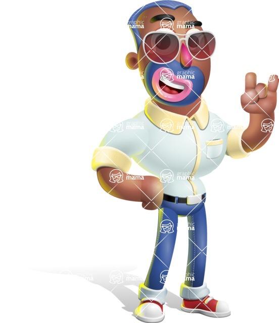 Male African American Cartoon Vector 3D Character AKA Jackson Blue - Sunglasses