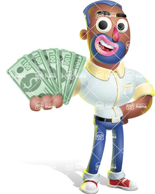 Male African American Cartoon Vector 3D Character AKA Jackson Blue - Show me  the Money