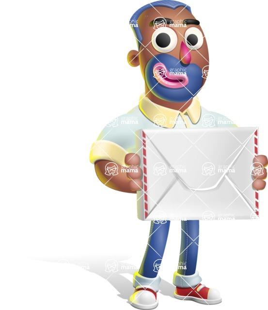 Male African American Cartoon Vector 3D Character AKA Jackson Blue - Letter