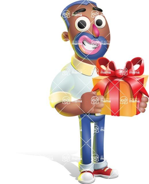 Male African American Cartoon Vector 3D Character AKA Jackson Blue - Gift