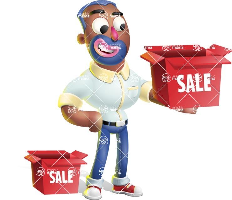 Male African American Cartoon Vector 3D Character AKA Jackson Blue - Sale