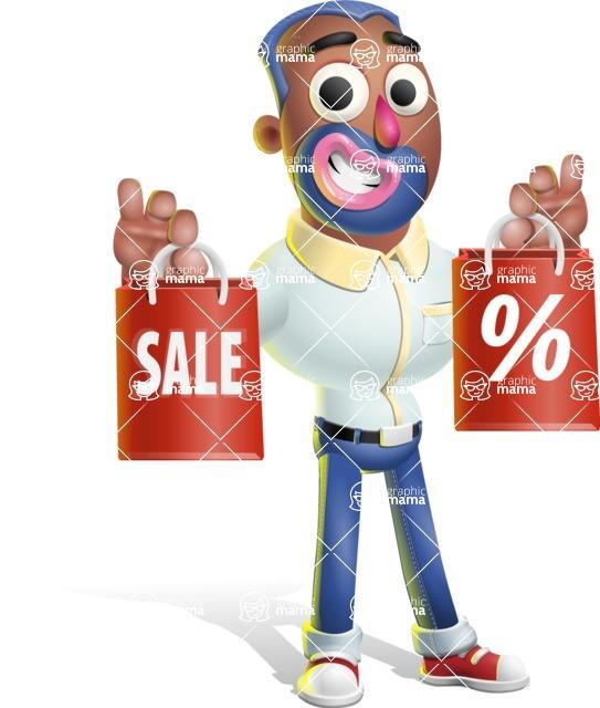 Male African American Cartoon Vector 3D Character AKA Jackson Blue - Sale 2