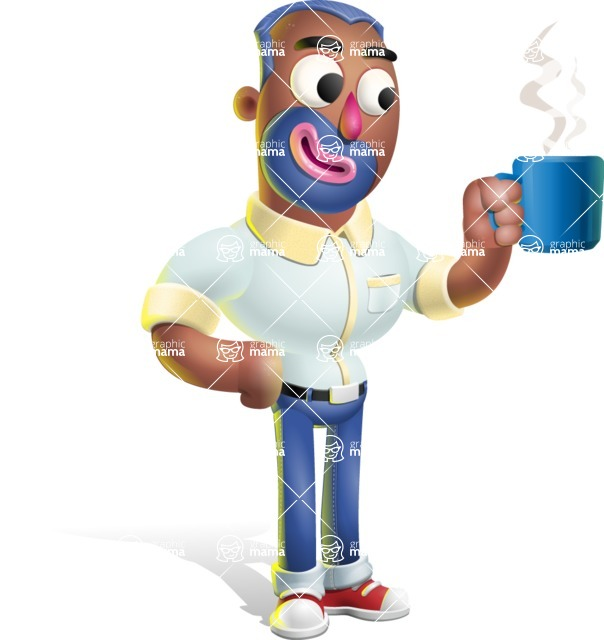Male African American Cartoon Vector 3D Character AKA Jackson Blue - Coffee