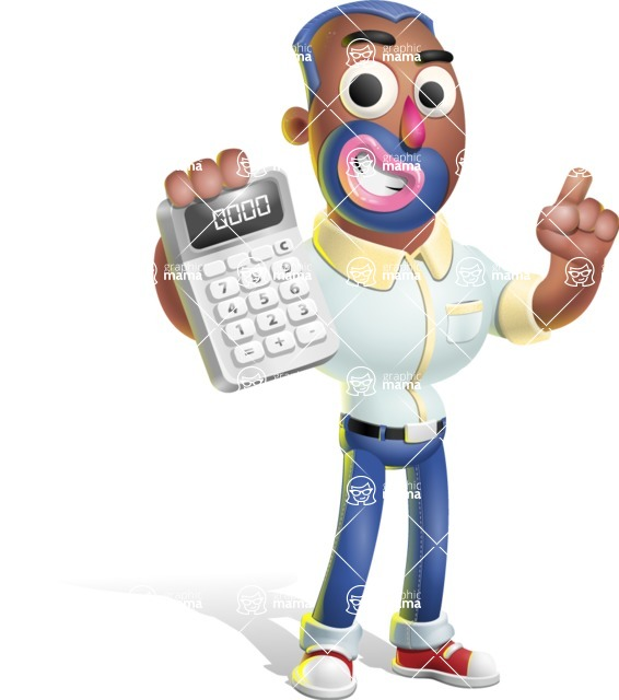Male African American Cartoon Vector 3D Character AKA Jackson Blue - Calculator