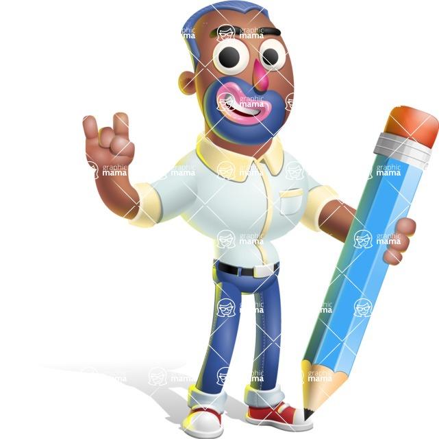 Male African American Cartoon Vector 3D Character AKA Jackson Blue - Pencil