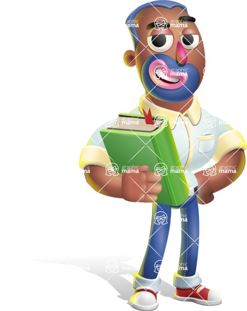 Male African American Cartoon Vector 3D Character AKA Jackson Blue - Book 3