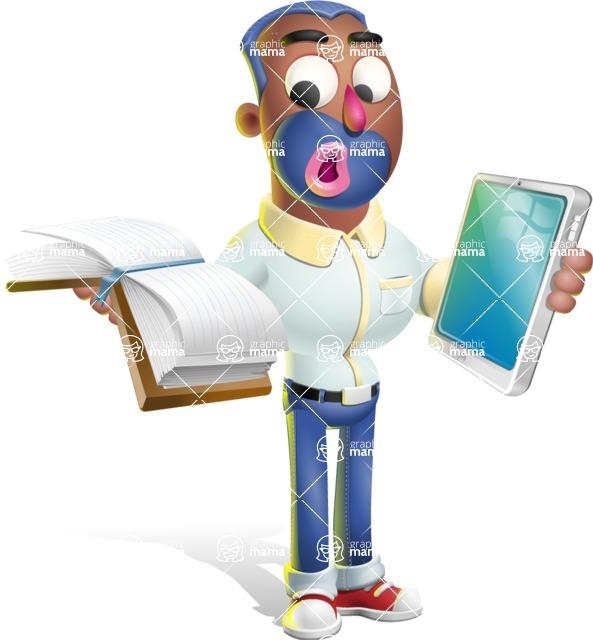 Male African American Cartoon Vector 3D Character AKA Jackson Blue - Book and iPad