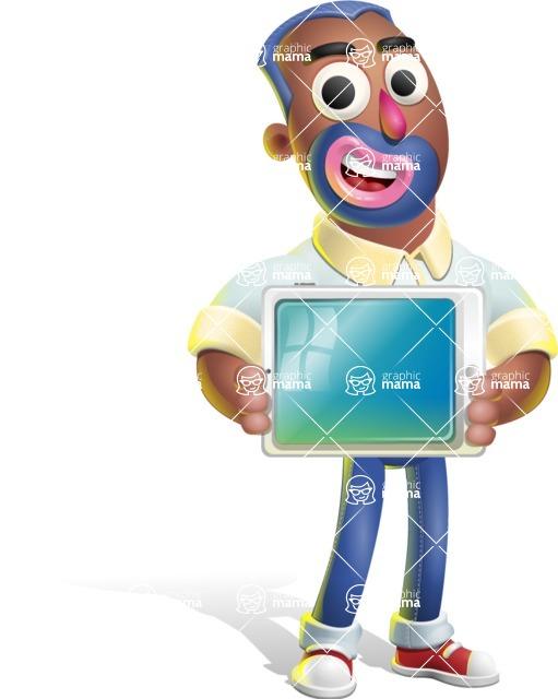 Male African American Cartoon Vector 3D Character AKA Jackson Blue - iPad 2