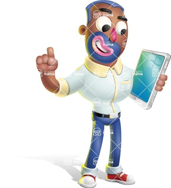 Male African American Cartoon Vector 3D Character AKA Jackson Blue - iPad 3