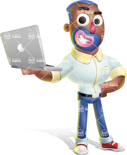 Male African American Cartoon Vector 3D Character AKA Jackson Blue - Laptop 1