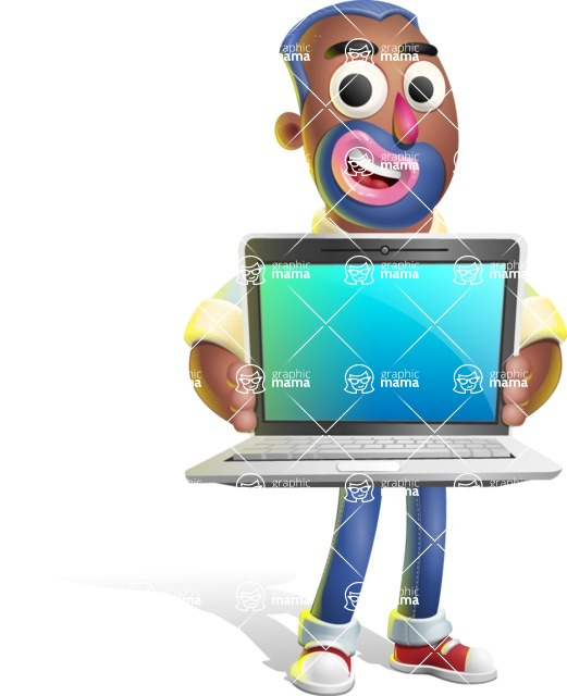 Male African American Cartoon Vector 3D Character AKA Jackson Blue - Laptop 2