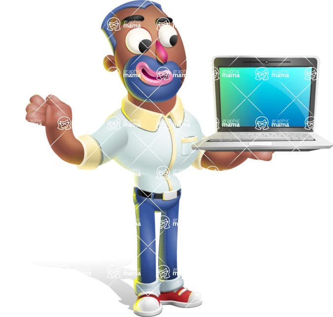 Male African American Cartoon Vector 3D Character AKA Jackson Blue - Laptop 3