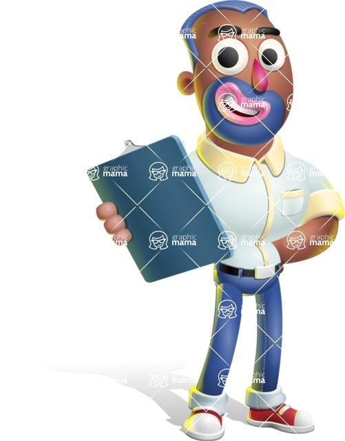 Male African American Cartoon Vector 3D Character AKA Jackson Blue - Notepad 2