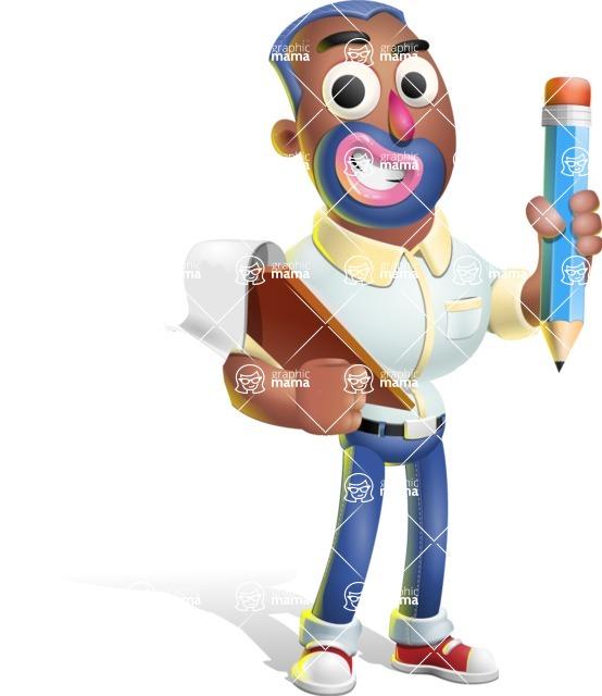 Male African American Cartoon Vector 3D Character AKA Jackson Blue - Notepad 3