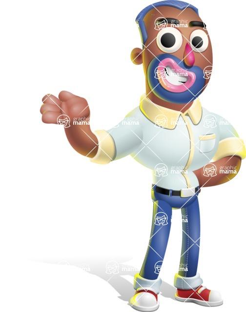 Male African American Cartoon Vector 3D Character AKA Jackson Blue - Showcase 2