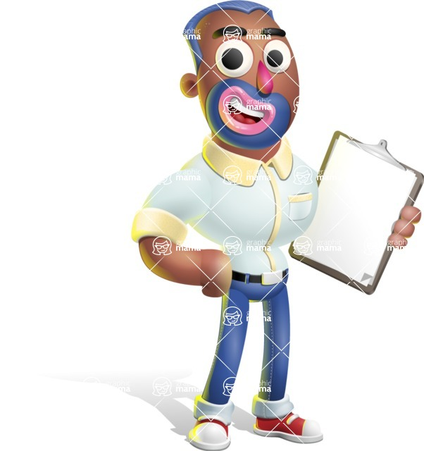 Male African American Cartoon Vector 3D Character AKA Jackson Blue - Notepad 4