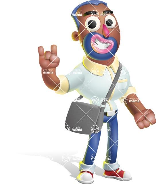 Male African American Cartoon Vector 3D Character AKA Jackson Blue - Travel 2