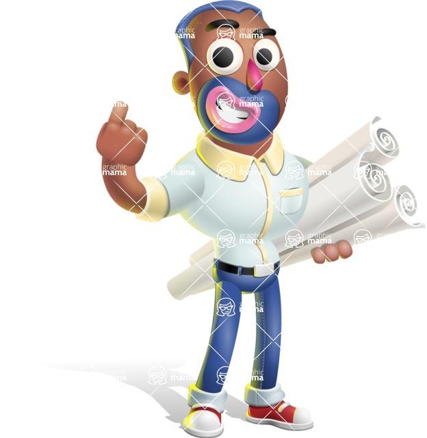 Male African American Cartoon Vector 3D Character AKA Jackson Blue - Plans