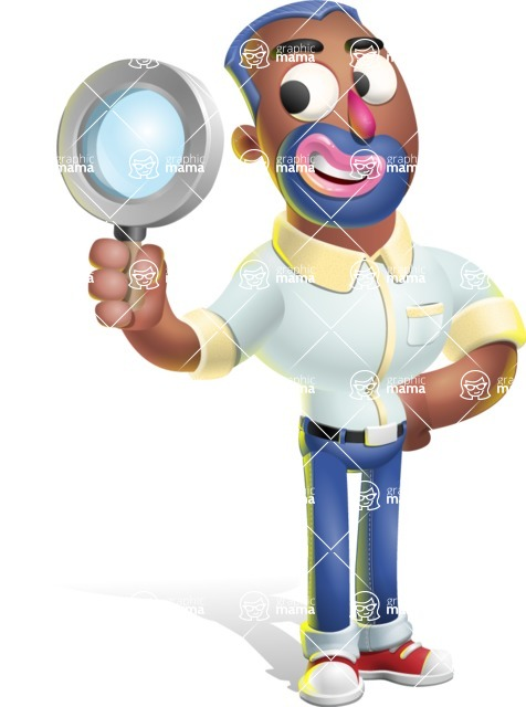 Male African American Cartoon Vector 3D Character AKA Jackson Blue - Search